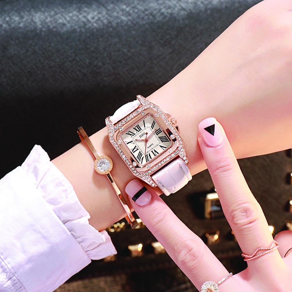 Stylish Simple Roman Style Digital Diamond Ladies Leather Strap Quartz Watch