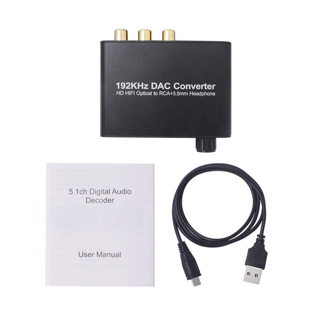 Digital-to-analog Converter Audio Conversion Decoder Adjustable Volume Optical Cable black