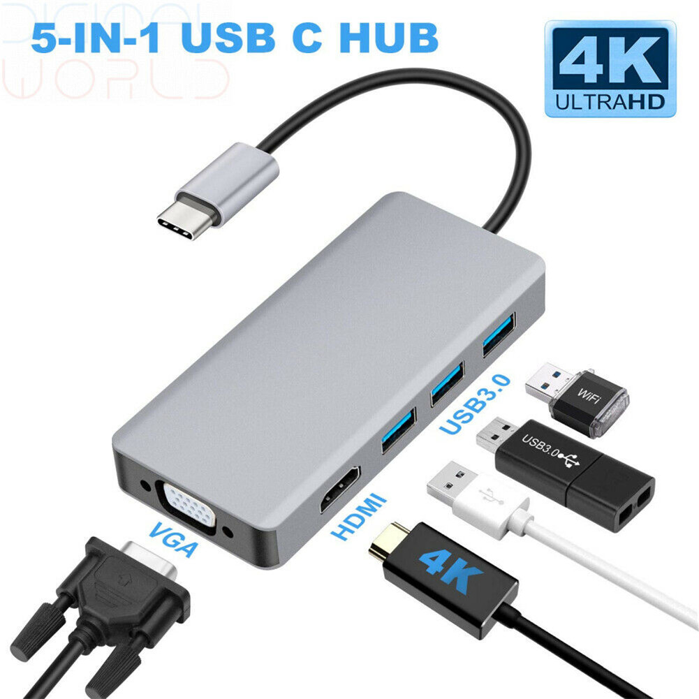 5 in 1 Docking Station USB 3.1 PD Charging/VGA/USB3.0*2/HDMI 2K/4K Multifunction Adapter Converter Silver