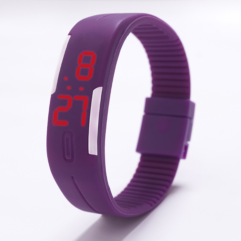 Fashion Top Brand Luxury Unisex Men's Watch Silicone Red LED Sport Watch Touch  purple