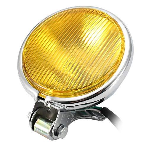 Chrome Motorcycle Headlight Yellow Cafe Racer Head Light Decorative Metal Lights Lighting Modified Motorbike Rear Light Silver