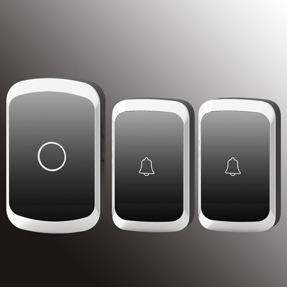 Smart Doorbell US Plug Two Drag One Wireless Doorbell Home AC Digital Waterproof Music Doorbell Silver+Black_US Plug