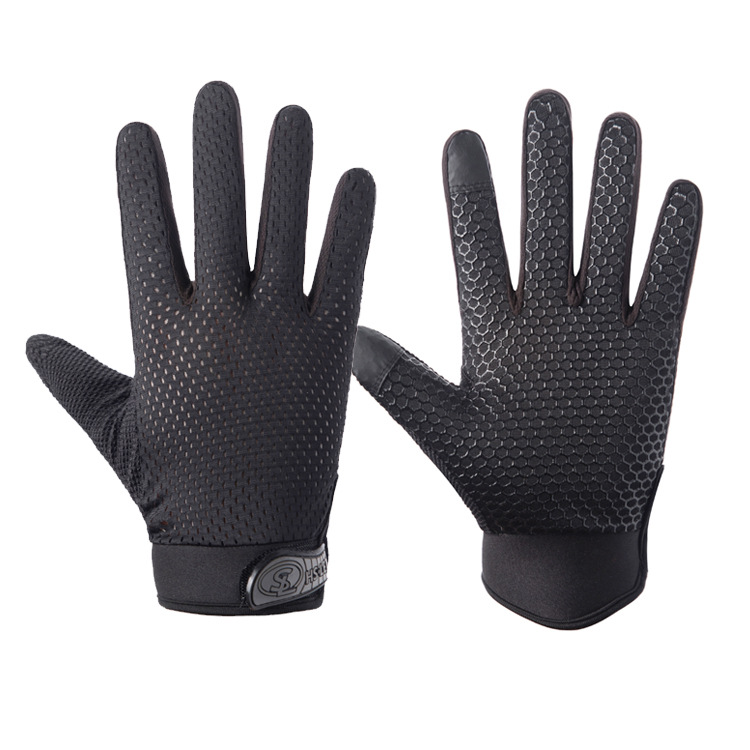 Outdoor gloves Sports Anti Slip Breathable Road Gloves Outdoor Cycling Full Finger Gloves Bicycle Motorcycle Riding black_L