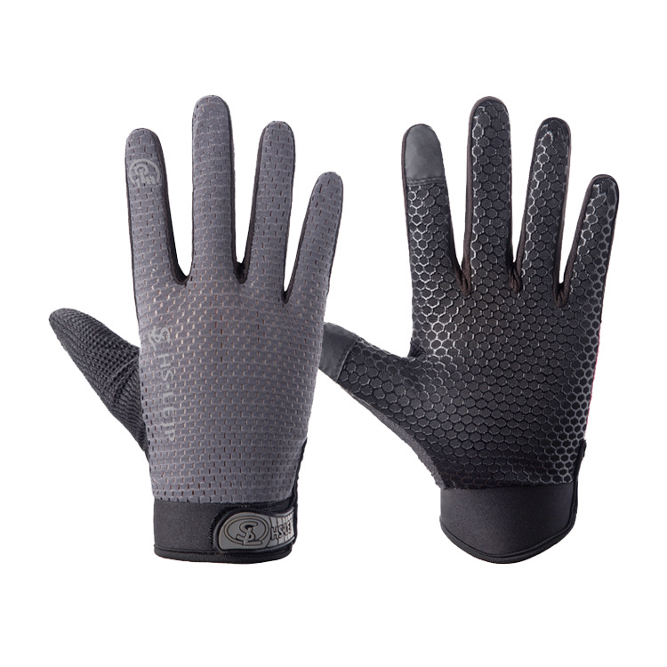 Outdoor gloves Sports Anti Slip Breathable Road Gloves Outdoor Cycling Full Finger Gloves Bicycle Motorcycle Riding gray_M