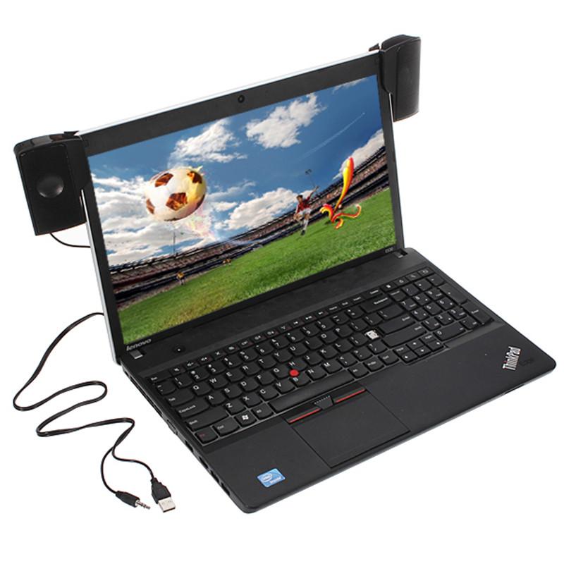 1 Pair Mini Portable Clipon USB Stereo Speakers line Controller Soundbar for Laptop MP3 Phone Music  black