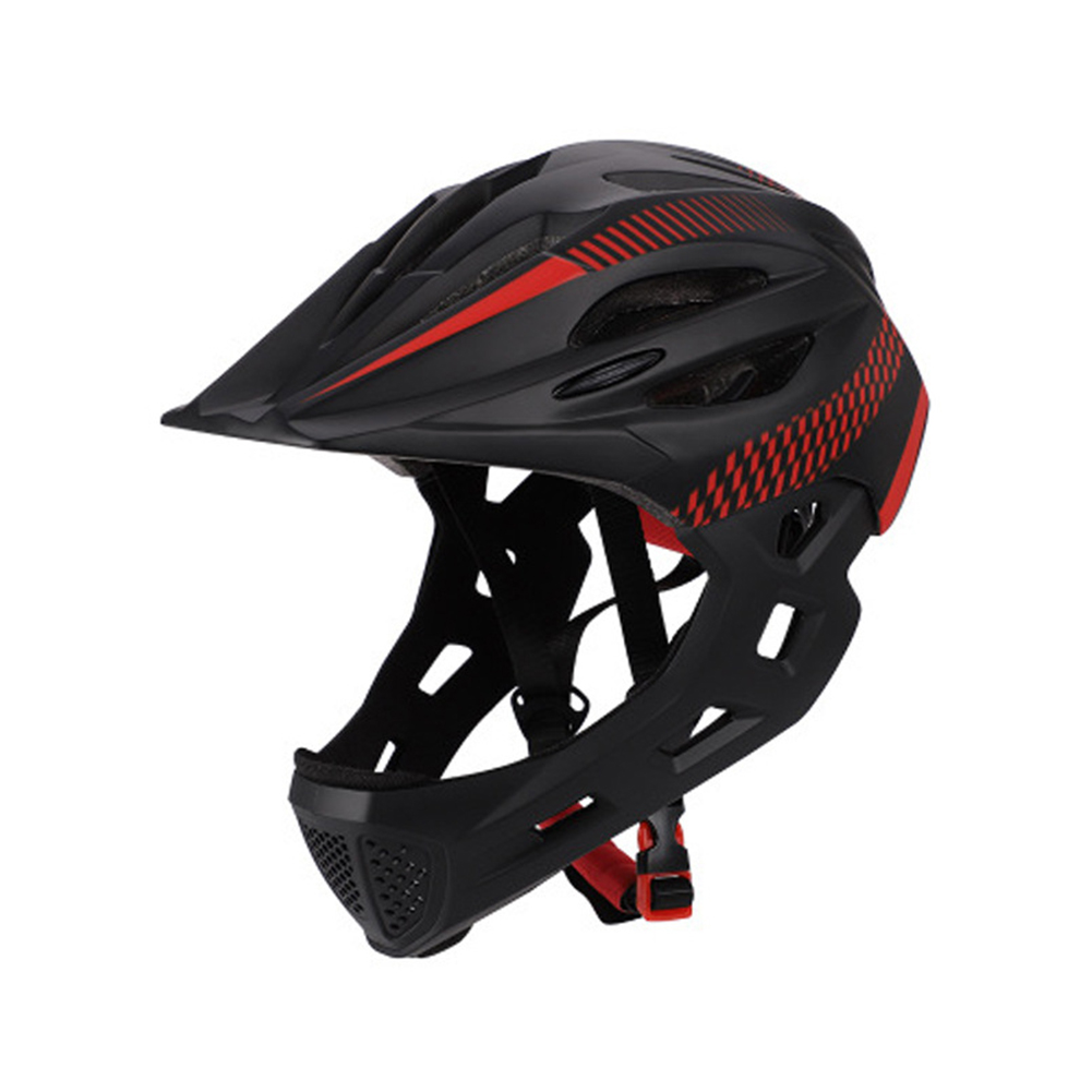 Children Detachable Full Face Bicycle / Mountain Road Bicycle Safety Helmet with Tail Light Black red_Head circumference (42-52cm)