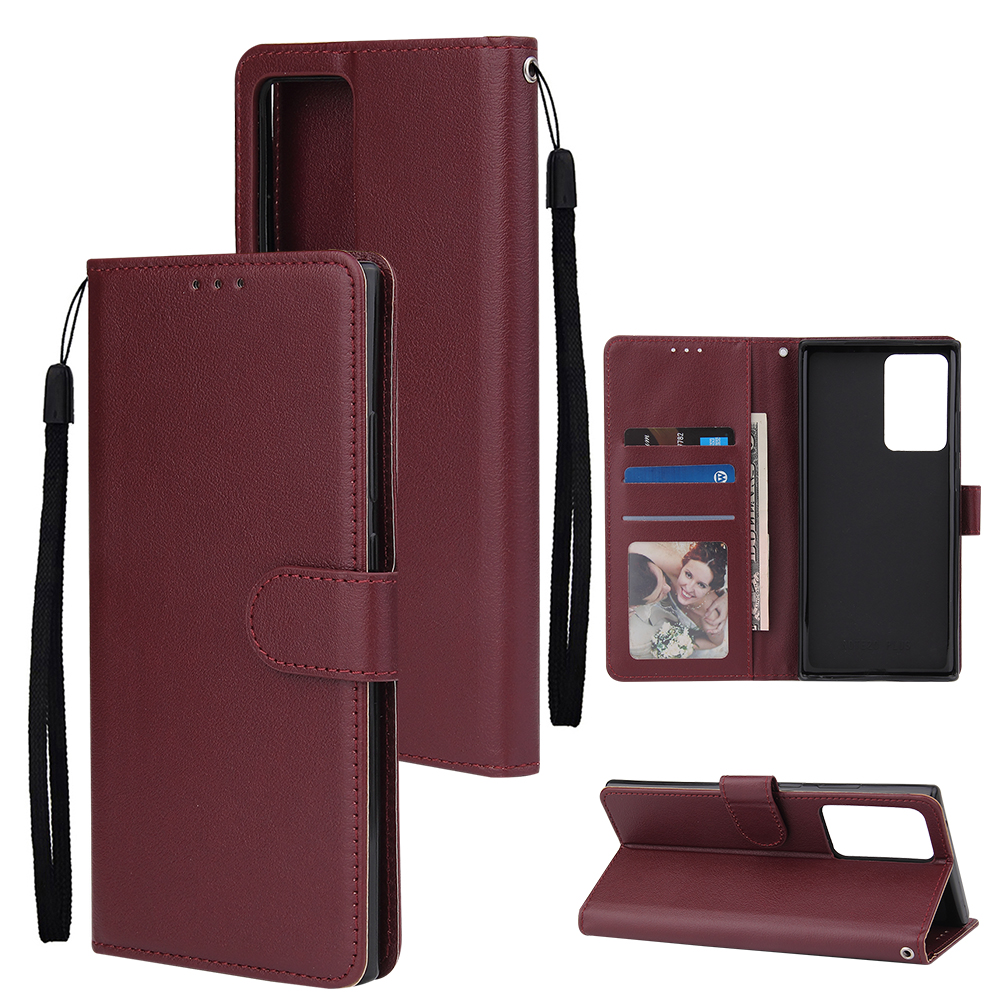 For Samsung Note 20/Note 20 Ultra PU Leather Three-card Photo Frame Front Buckle Mobile Phone shell Red wine