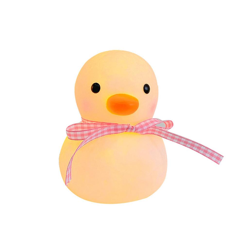 Cute Cartoon Duck  Night  Light Dormitory Bedside Night Lamp For Baby Kids Room Light Up pink ribbon