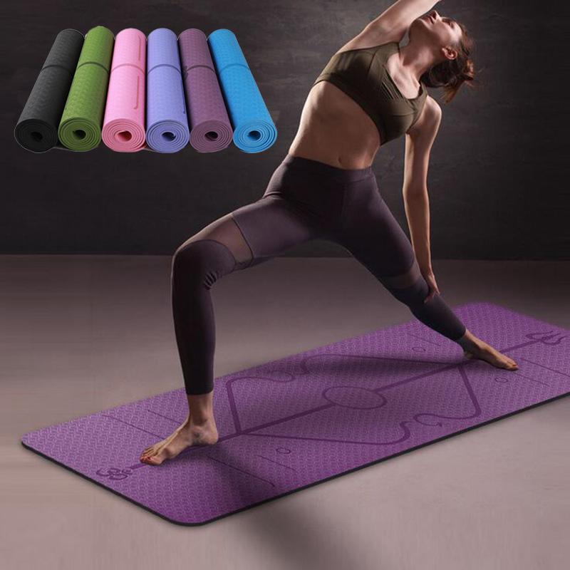 183X61cm 6mm monochrome tpe yoga mat posture line non-slip environmental protection fitness mat blue_6mm + net bag