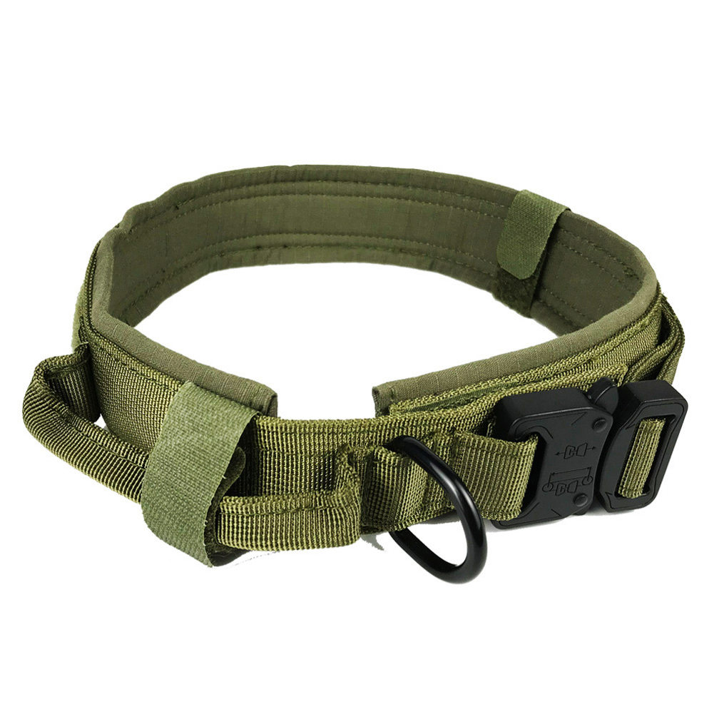 Pet Collar Adjustable Thicken Leash Control D Ring Training Collar for Small Large Dogs green_L
