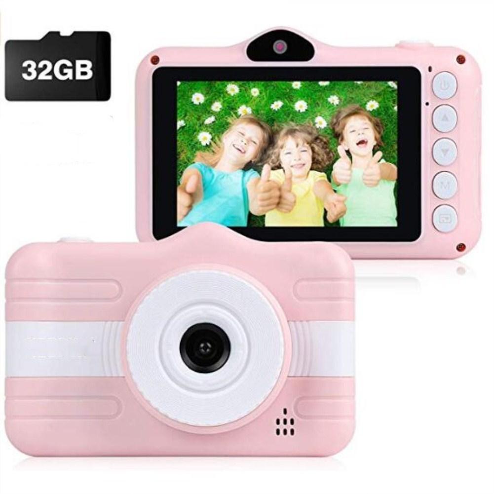 HD Digital Camera for Kids Creative Dual Cameras Mini Camera Pink + 32G