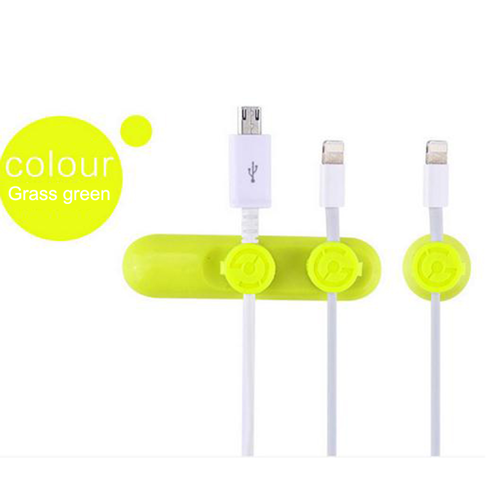 Magnet Cable Organizer Silicone USB Cable Winder Flexible Cable Management Clips green_10*5*3