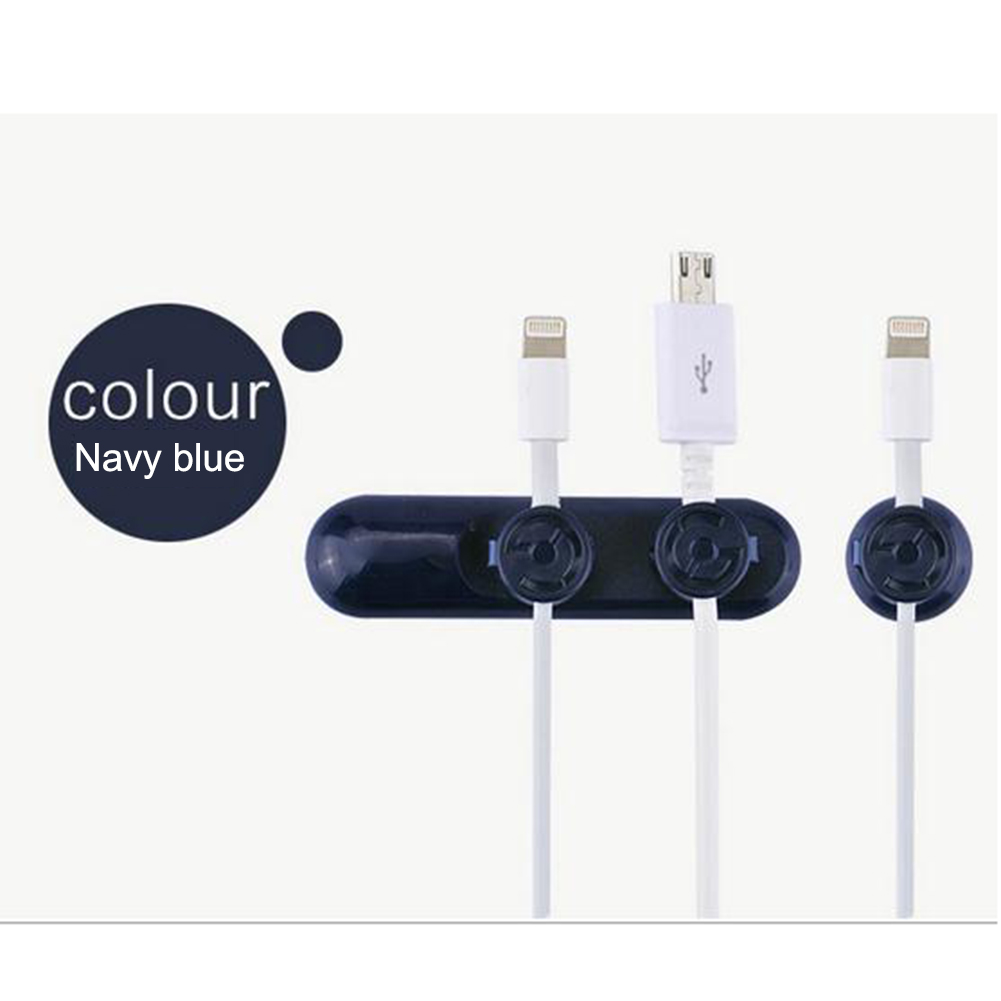 Magnet Cable Organizer Silicone USB Cable Winder Flexible Cable Management Clips blue_10*5*3