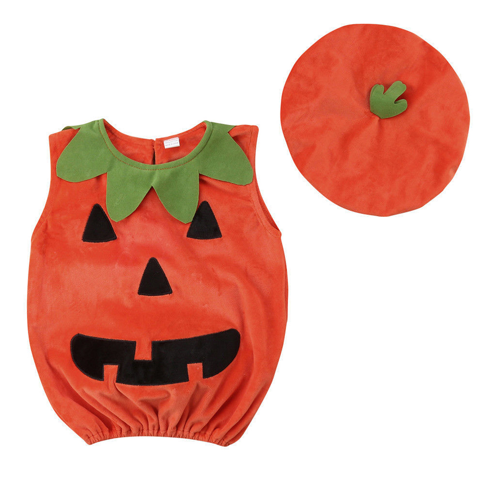 Cute Round Collar Sleeveless Pumpkin Halloween Tops+Hats Baby Boy Girl Clothes Orange_110cm