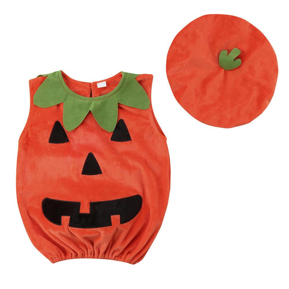 Cute Round Collar Sleeveless Pumpkin Halloween Tops+Hats Baby Boy Girl Clothes Orange_90cm