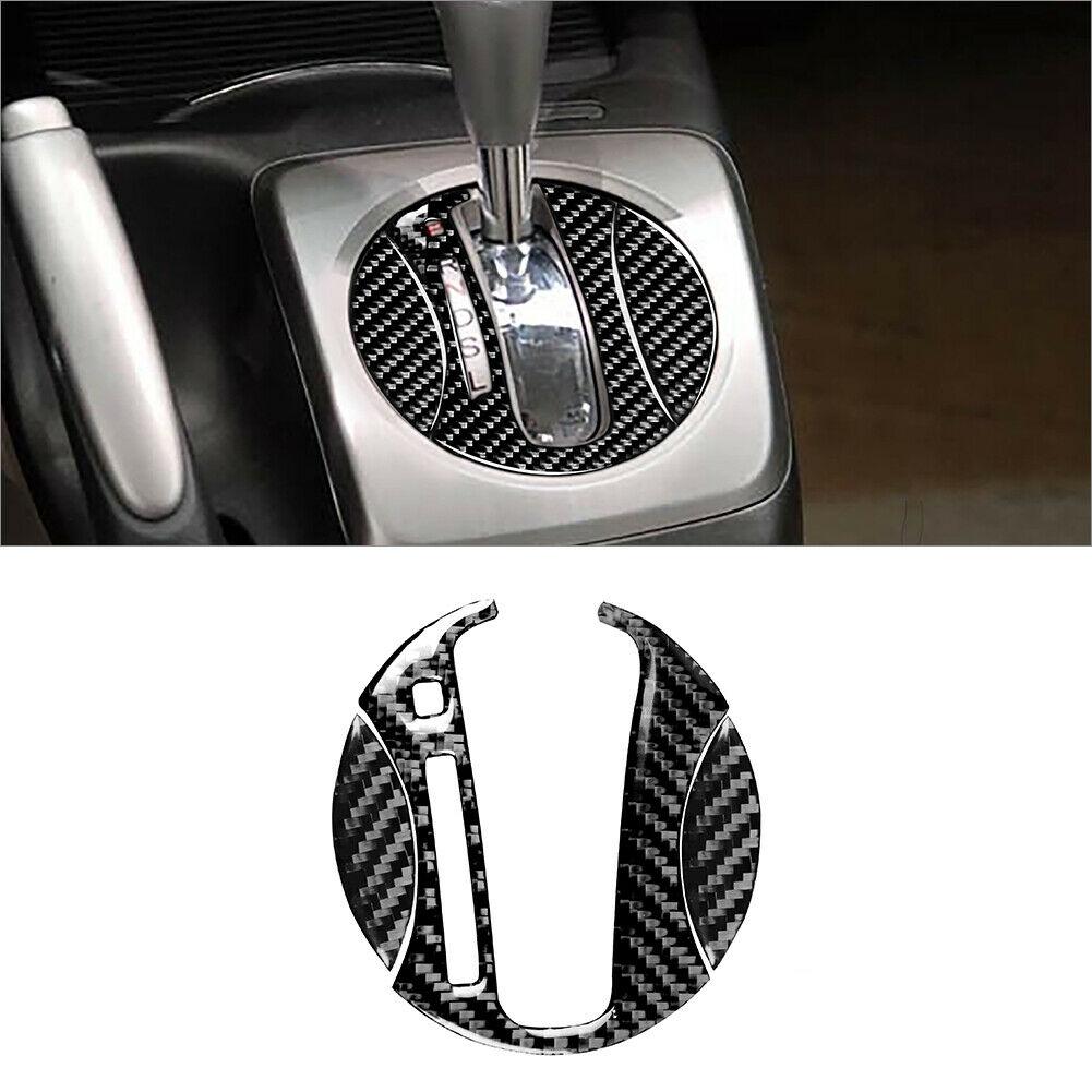 3pcs Carbon Fiber Automatic Gear Shift Panel Cover Trim For Civic 8th 2006-2011 Carbon black