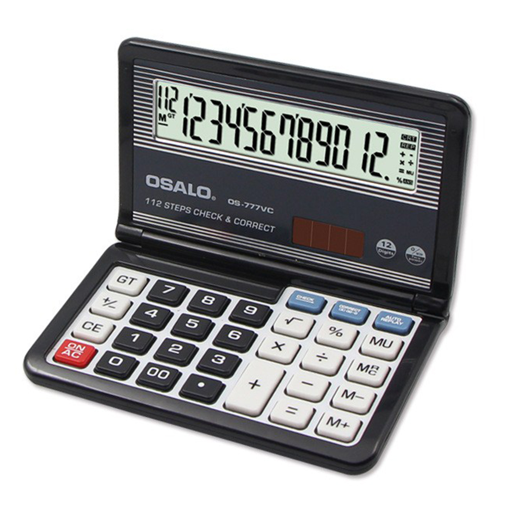 12-Digit Display Solar Battery Dual Power Calculator Portable Foldable Basic Calculator  black