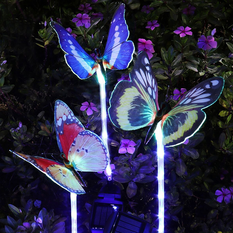 3PCS/Set Solar-powered Colorful Gradient Changing LED Optical Butterfly Light Night Lamp Yard Garden Decoration Colorful gradient