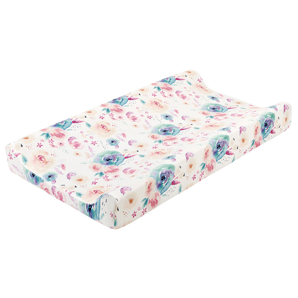 Removable Washable Changing Pad Cover for Baby Care Table Printing Cover Watercolor flowers