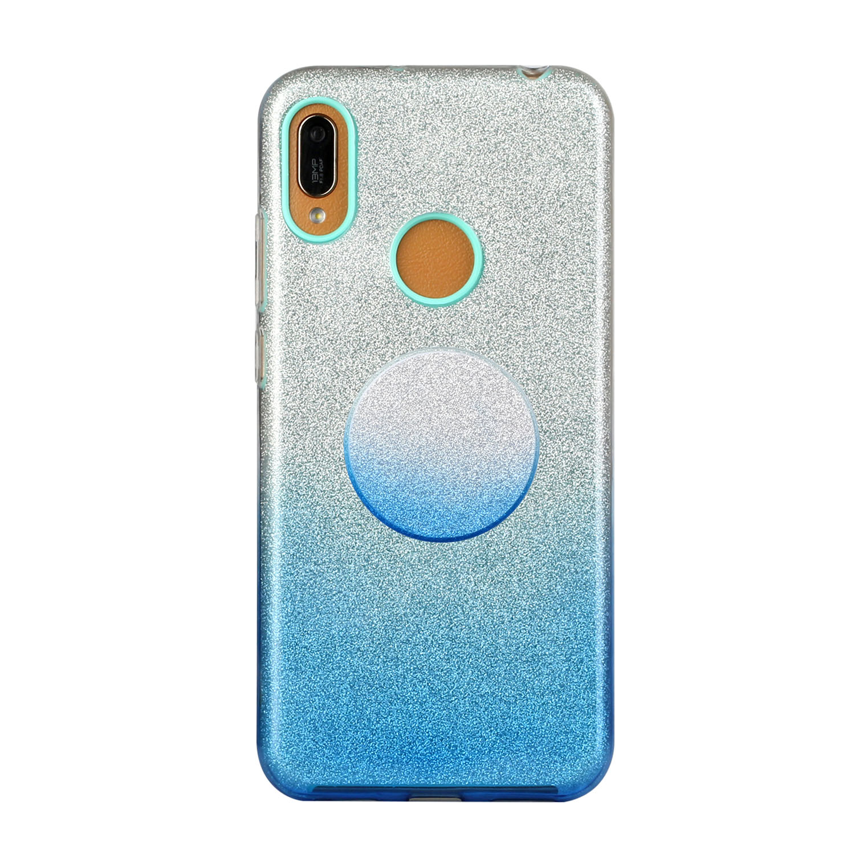for HUAWEI P20 LITE/P30 LITE/P40 LITE/Nova6SE/Nova 7i Phone Case Gradient Color Glitter Powder Phone Cover with Airbag Bracket blue