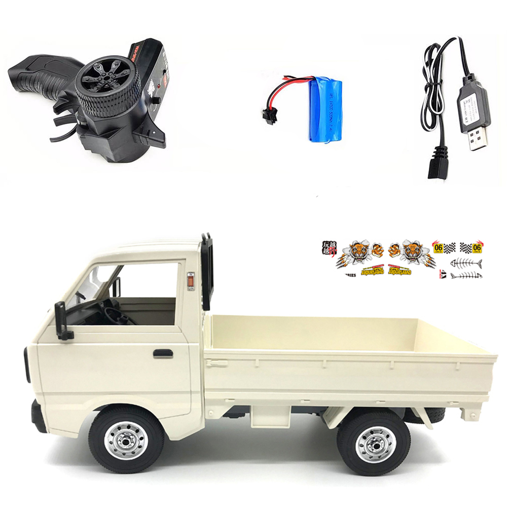WPL D12 1/10 4WD RC Car Simulation Drift Truck Brushed 260 motor Climbing Car LED Light On-road RC Car Toys For Boys Kids Gifts White 1 battery