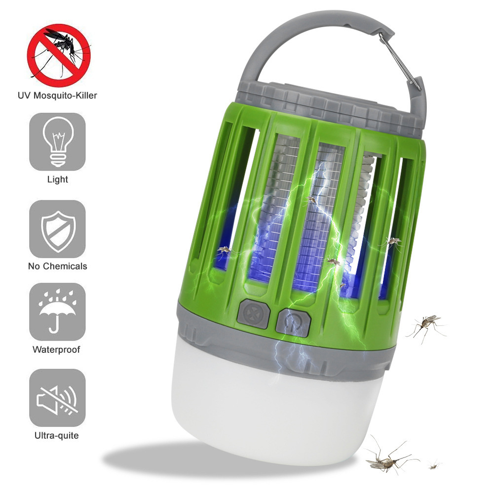 Portable Camping  Lamp Led Usb Rechargeable Anti-mosquito Bug Insect Trap Lamp Non-radiation Tent Light green