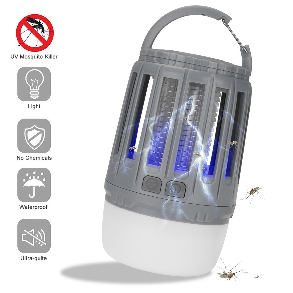 Portable Camping  Lamp Led Usb Rechargeable Anti-mosquito Bug Insect Trap Lamp Non-radiation Tent Light gray