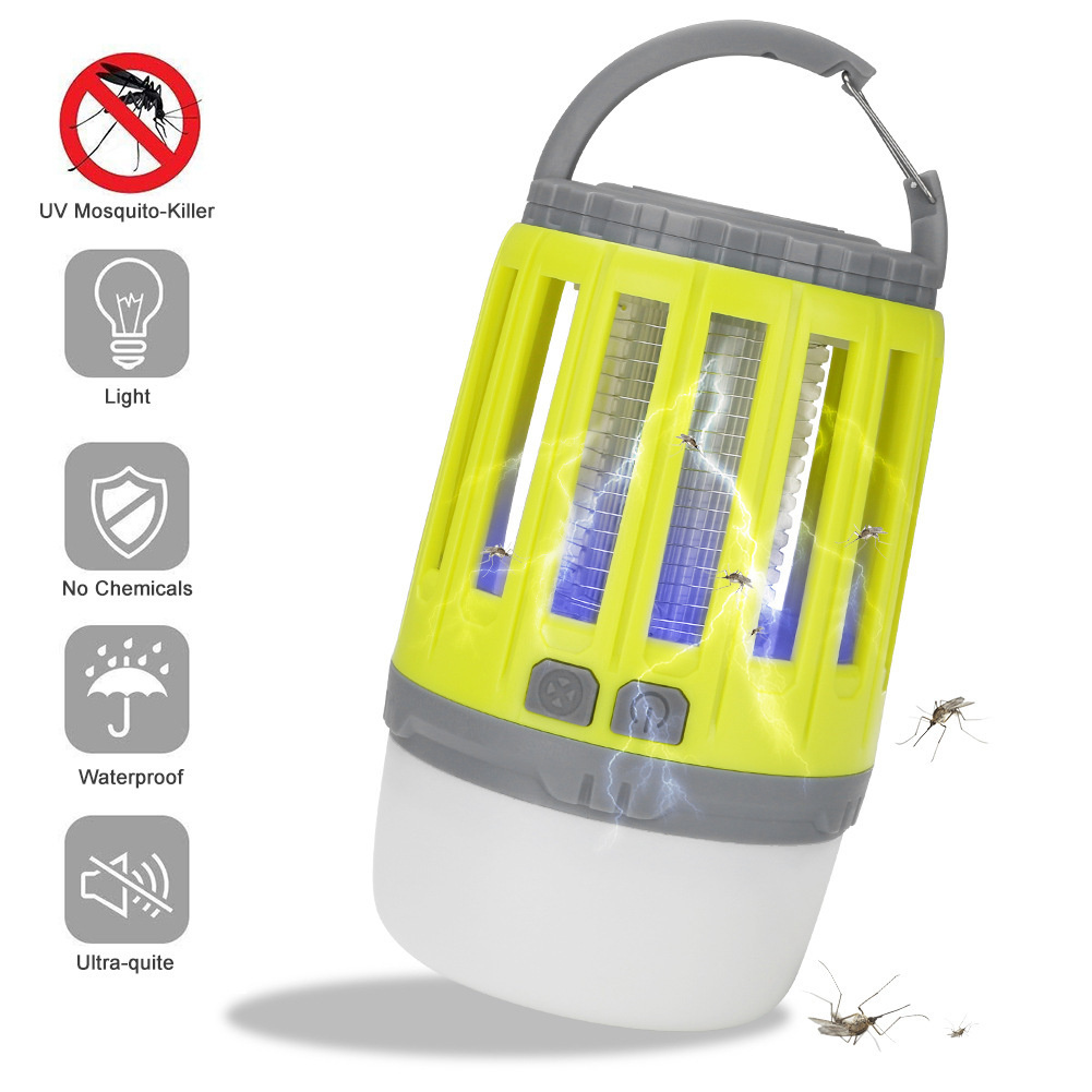 Portable Camping  Lamp Led Usb Rechargeable Anti-mosquito Bug Insect Trap Lamp Non-radiation Tent Light yellow