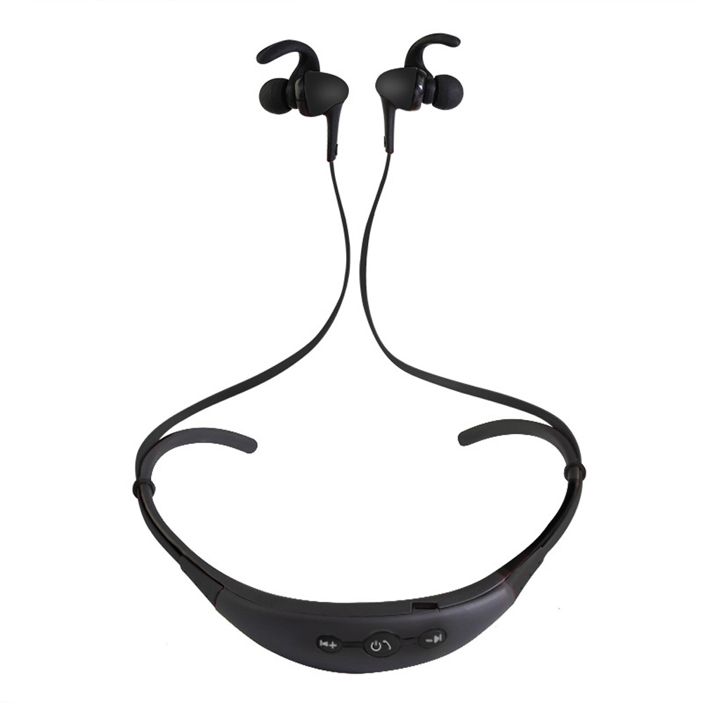 Neck Hanging Sport BT Earphone 4.1 Two in One Stereo Headset black