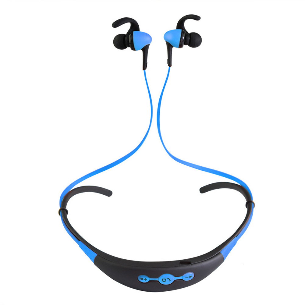 Neck Hanging Sport BT Earphone 4.1 Two in One Stereo Headset blue