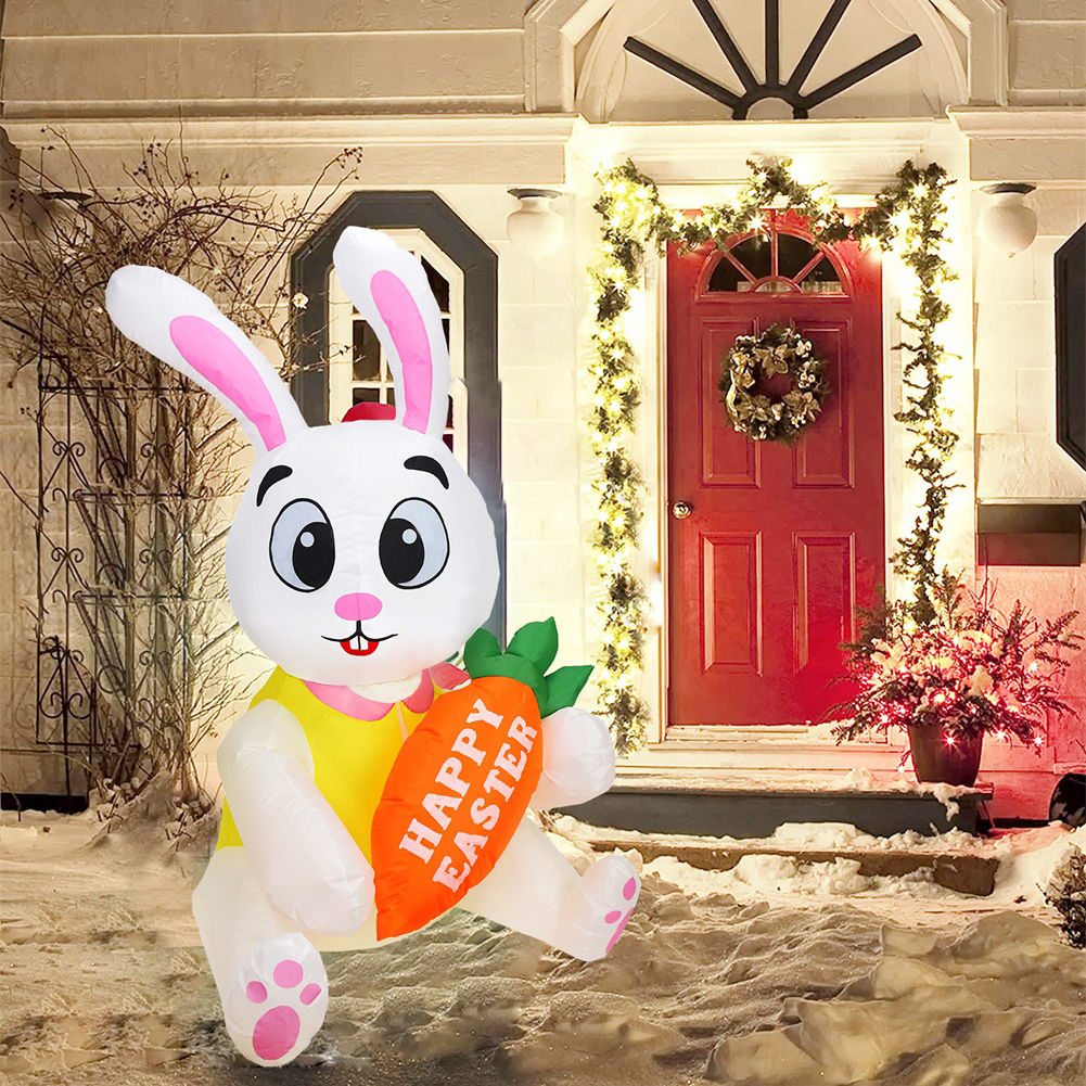 Inflatable Rabbit Model 1.5m With Lights Glowing Holiday Decoration Props For Easter U.S. plug