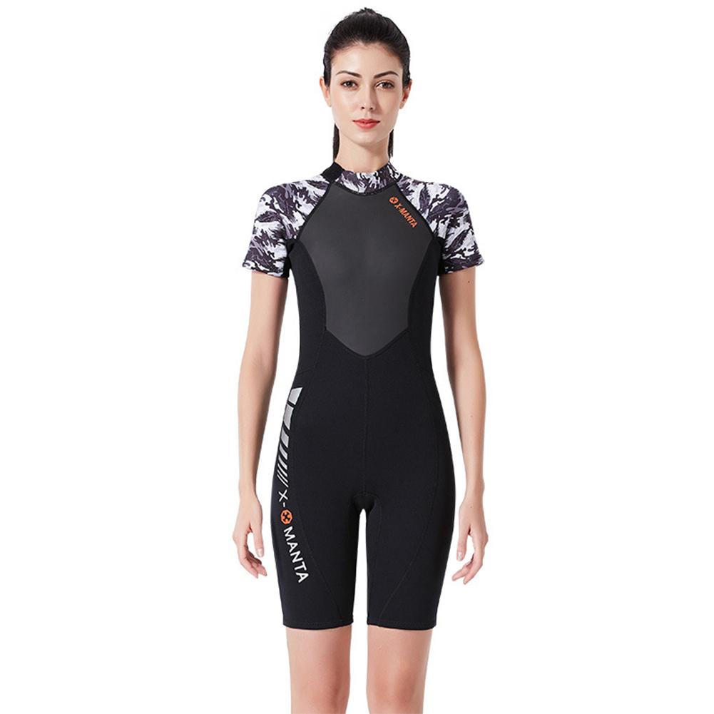 Diving Suit for Men 1.5MM Siamese Short Sleeve Female Surfing Warm Swimwear Female black/white_L