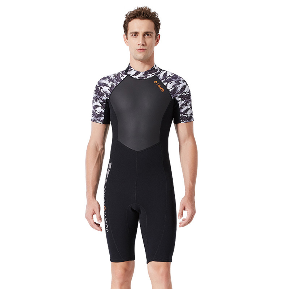 Diving Suit for Men 1.5MM Siamese Short Sleeve Female Surfing Warm Swimwear Male black/white_XL