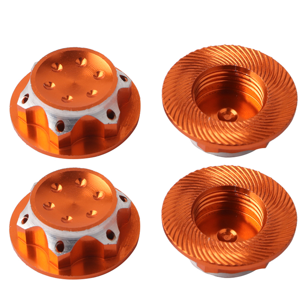 4Pcs Aluminium Alloy Wheel Hub Cover Antidust Cover CNC17mm HEX Nut Adapter for Losi Team C HSP Redcat Traxxas 1/8 RC Car Gold