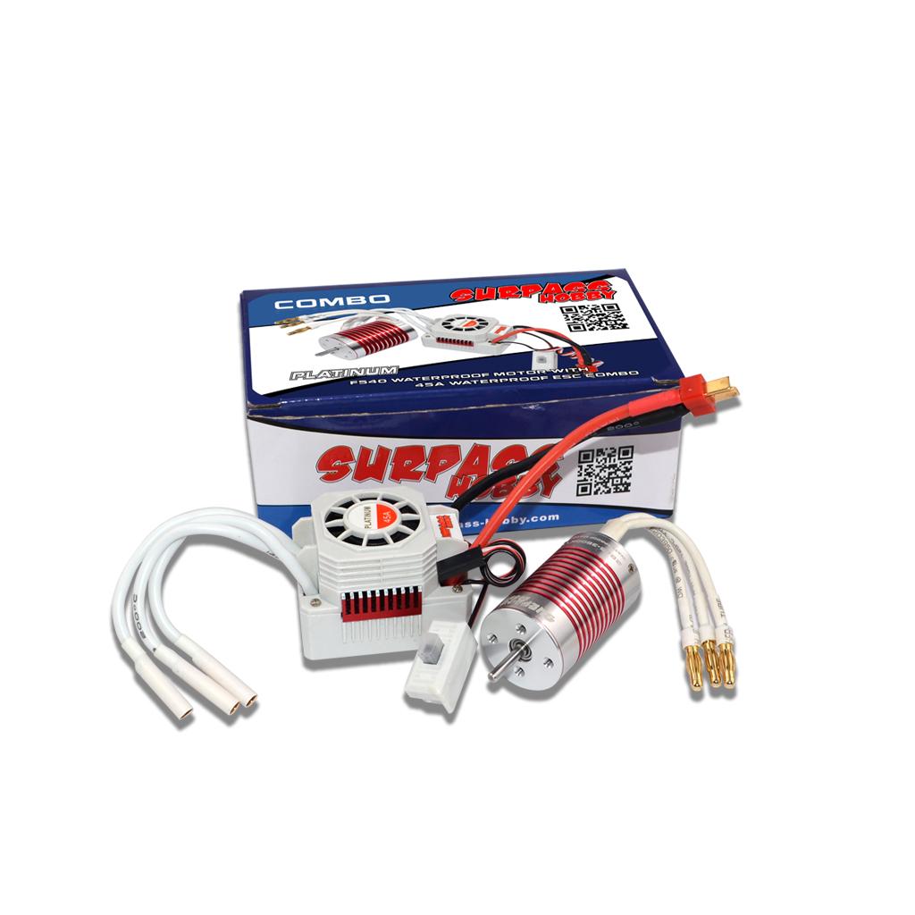SURPASS HOBBY Platinum Set Waterproof 2845 3100kv/3800KV Brushless Motor with 45A ESC for 1/14 1/12 RC Car