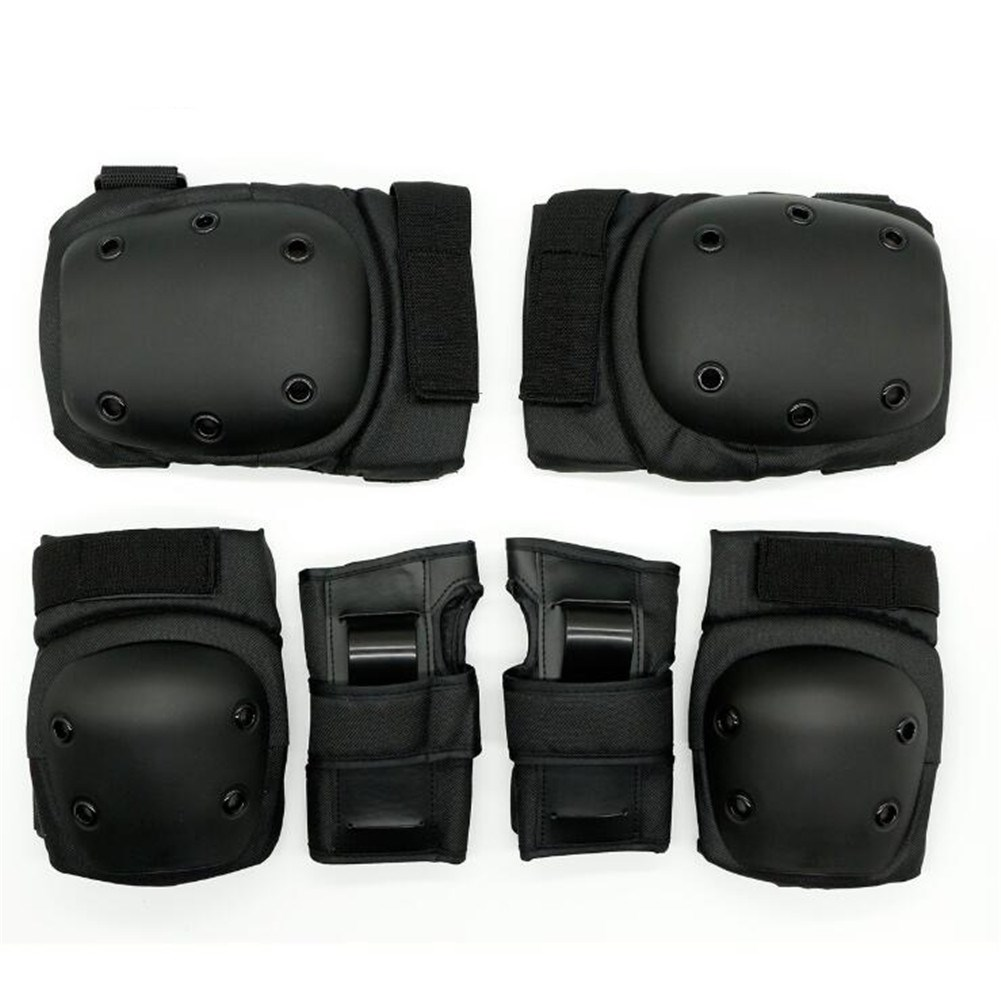 6Pcs/Set Sports Protector Set Hand Guard Knee Pad Elbow Pad for Roller Skating Sports black_L