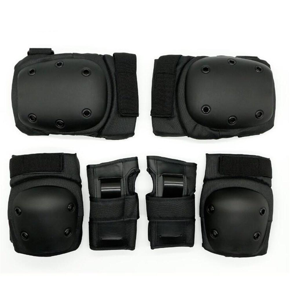 6Pcs/Set Sports Protector Set Hand Guard Knee Pad Elbow Pad for Roller Skating Sports black_M