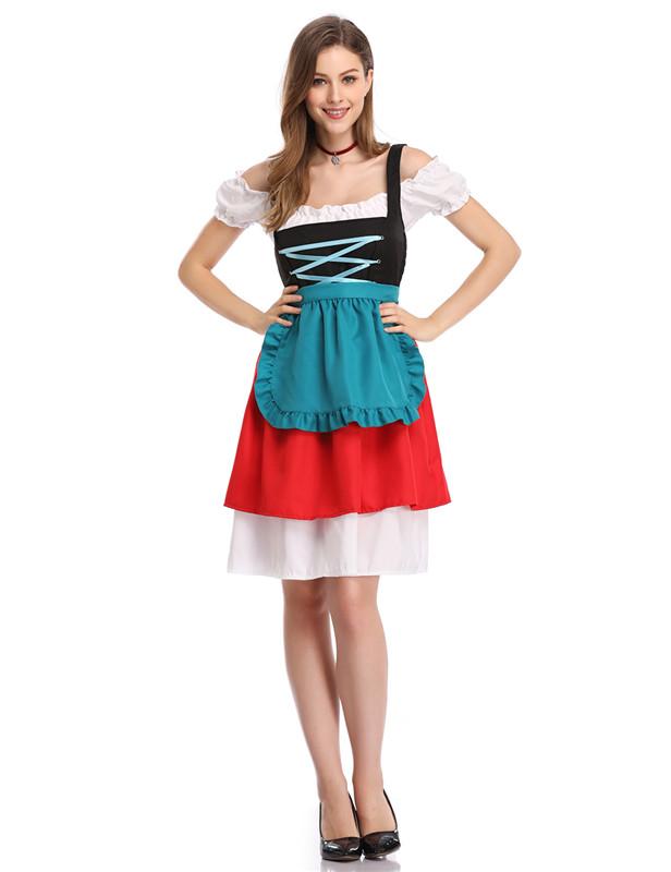 [EU Direct] Women's Retro Color Block Stylish Cold Shoulder Pleated Dress Suit for Oktoberfest