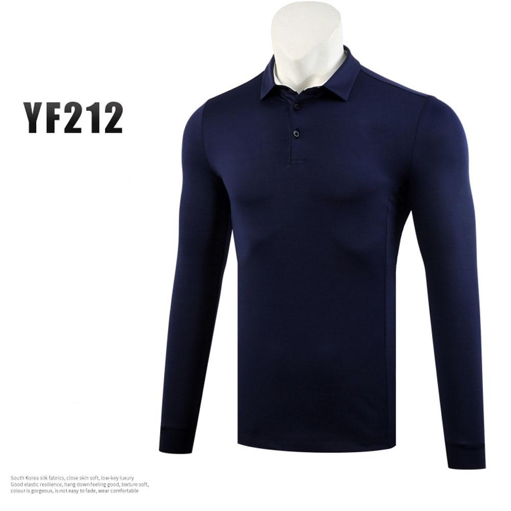 Golf Autumn Winter Clothes for Men Long Sleeve T-shoirt Pure Color Ball Uniform Navy_M