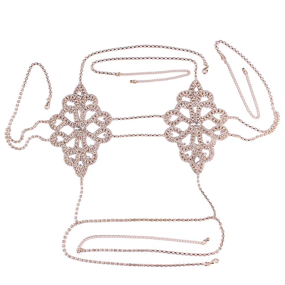 Chest Chain Lotus Leaf Type Hollow Out Rhinestone-embedded Sexy and Fashion Show Dresses for Women