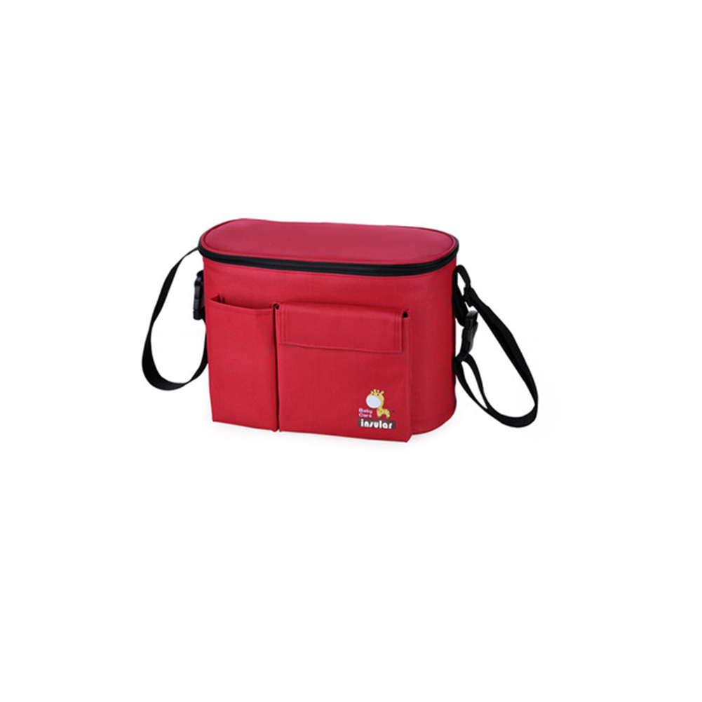Multifunctional  Mommy  Bag Thermal Insulation Bag Waterproof Hangable Pouch red