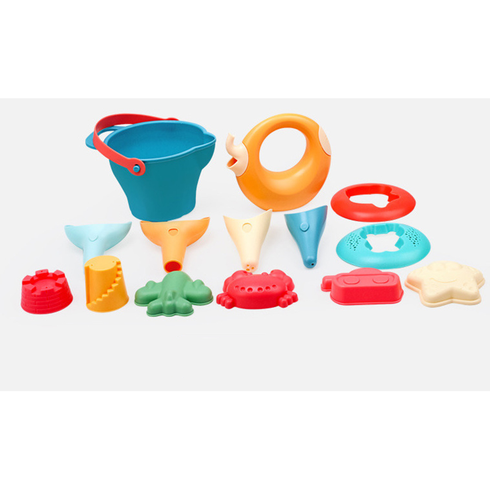 Baby Puzzle Play House Sand Play Tool Children Soft Rubber Beach Suit Outdoor Water Sand Dredging Toy 14-piece soft beach
