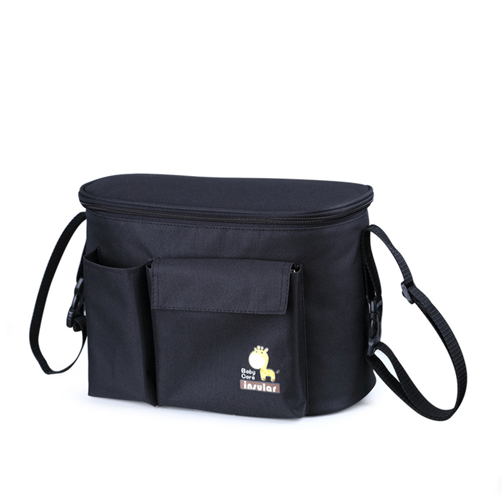 Multifunctional  Mommy  Bag Thermal Insulation Bag Waterproof Hangable Pouch black