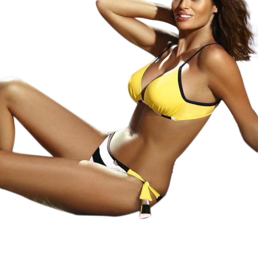 Woman Sexy Bikini Set Lace-up Separated Girls Bathing Suits Strips Swimwear  yellow_M