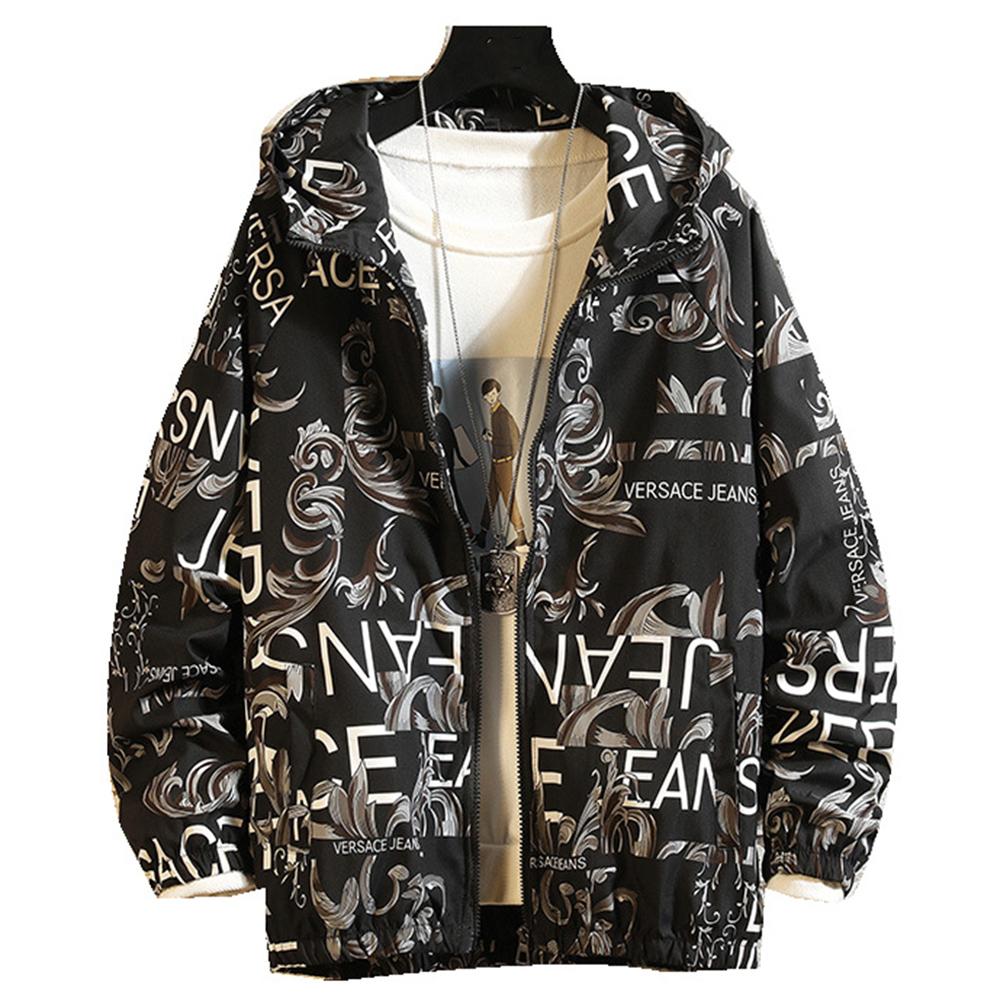 Men's Baseball Jacket Spring and Autumn Loose Large Size Casual Jacket  gray_M