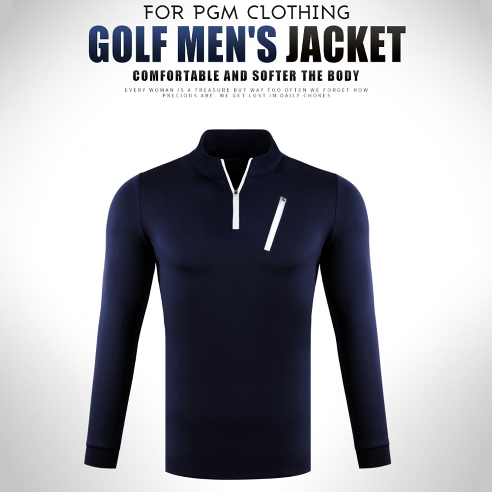 Male Golf Autumn Winter Clothes Stand Collar Long Sleeve T-shirt Windproof Warm Suit YF213 black_L