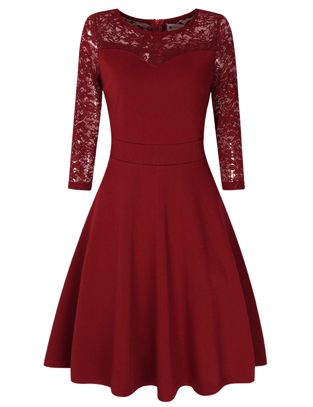 [US Direct] VeryAnn Women A Line Cocktail Dress Empire Lace Fit and Flare Dress Red wine_S