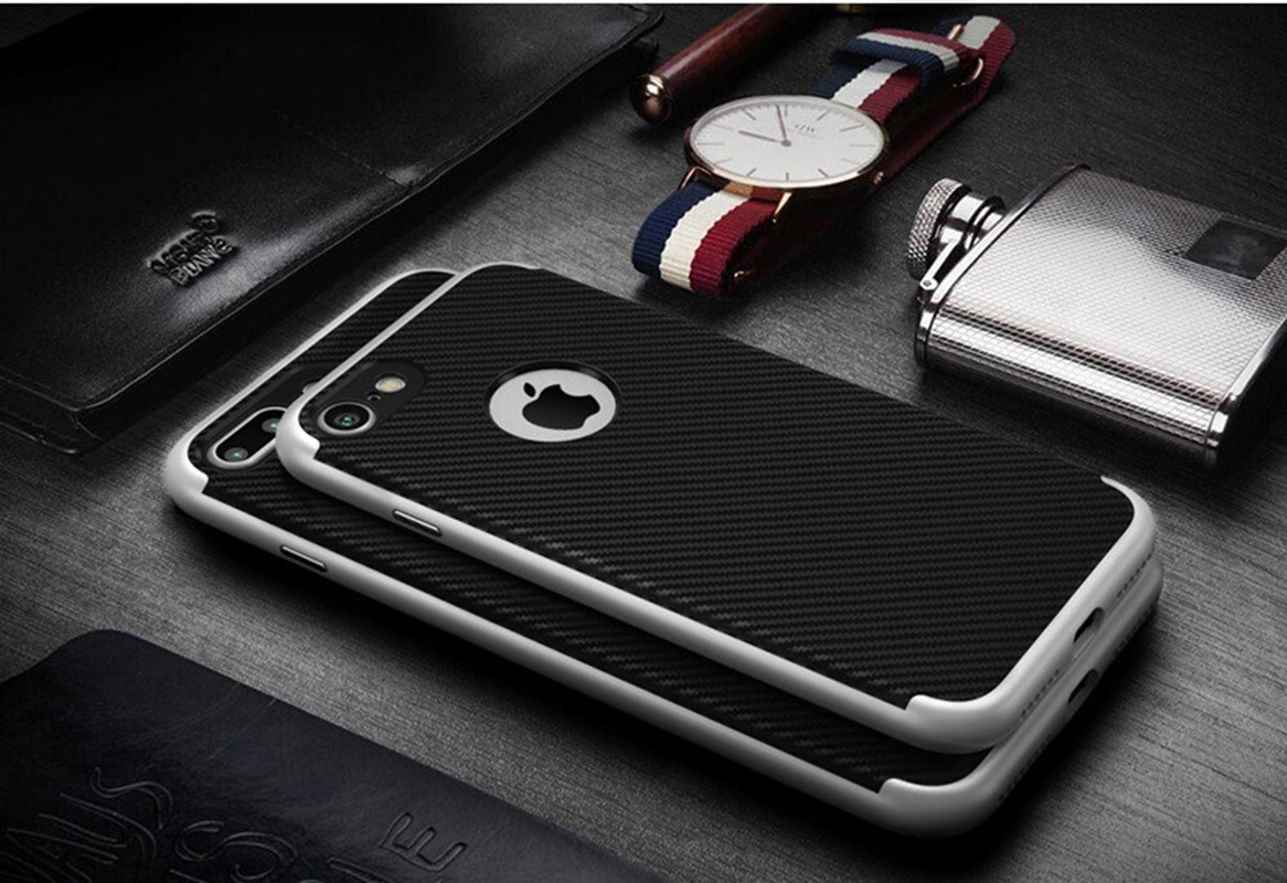 [US Direct] Rich Texture PC TPU Hard Protect Case Back Cover Bumper for iPhone 7 Carbon Fiber Gold