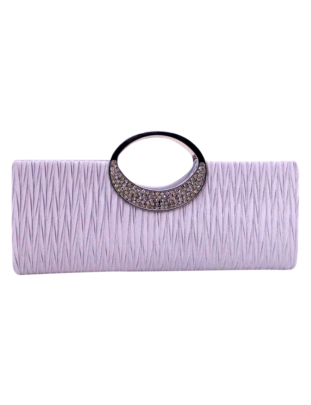 Women's Classic Rhinestone Clutch Dinner Bag Crystal Satin Pleated Handbag Evening Bag with Chain