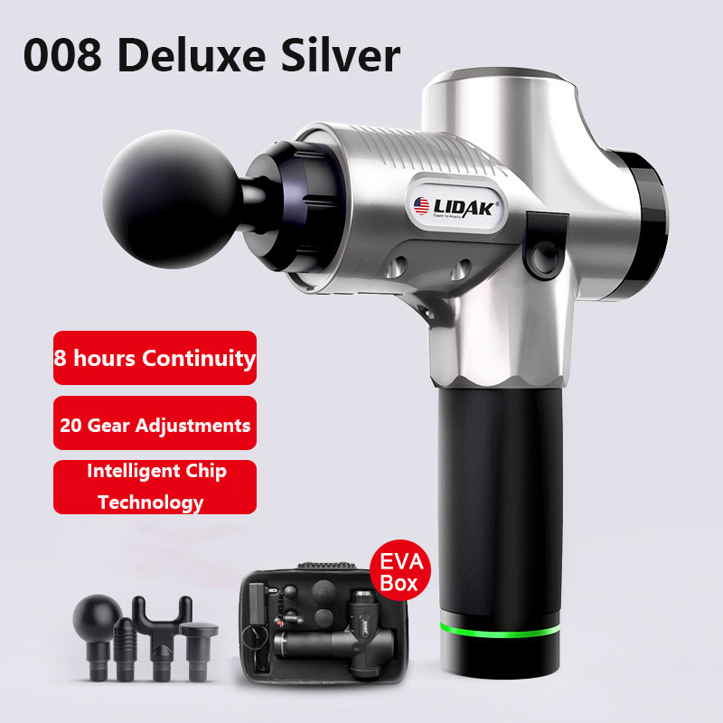 12V/24V Lidak Muscle Massager Electric Vibration Muscle Relax Massager 4 Heads Rechargeable US Plug Silver_US regulations - EVA box
